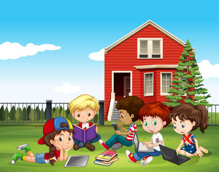 Internatinal children studying outside classroom illustration