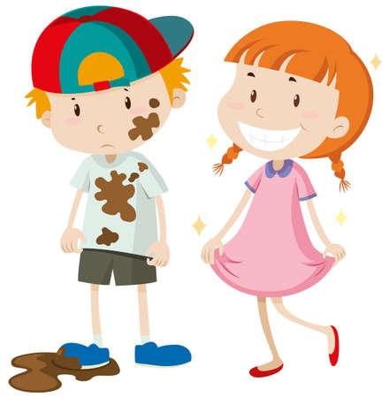 Illustration pour Dirty boy and clean girl illustration - image libre de droit
