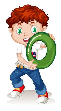 Boy holding number zero illustration