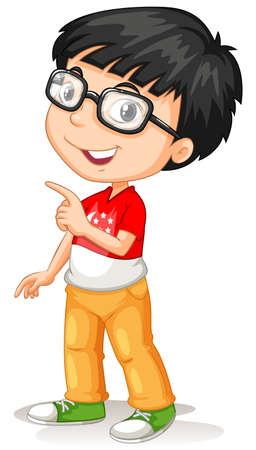 Asian boy wearing glasses illustration