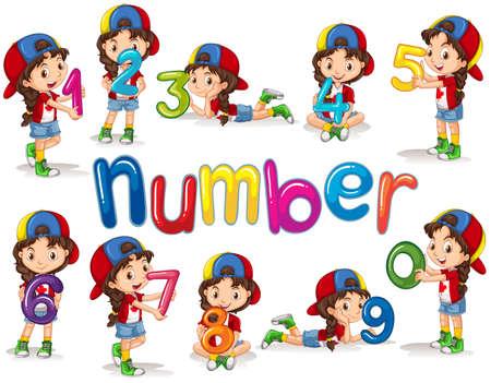 Girl and numbers zero to nine illustration