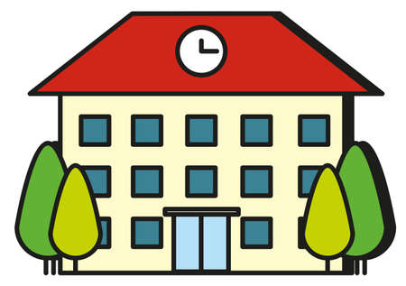 Large building with red roof illustration