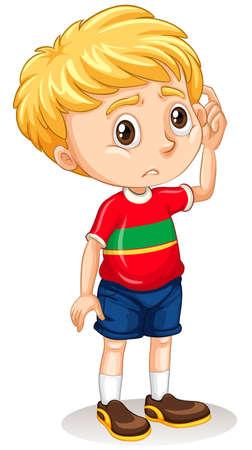 Little boy with sad face illustration