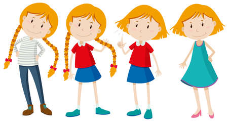 Little girls with long and short hair illustration
