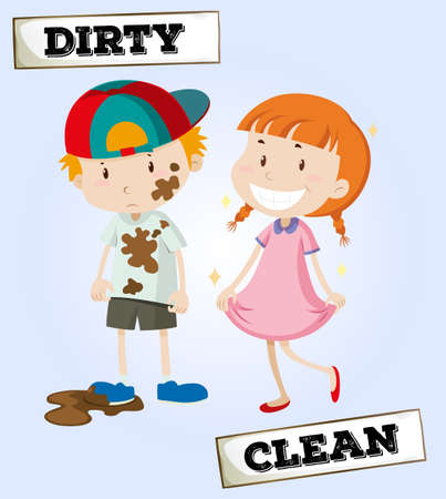 Dirty boy and clean girl illustration