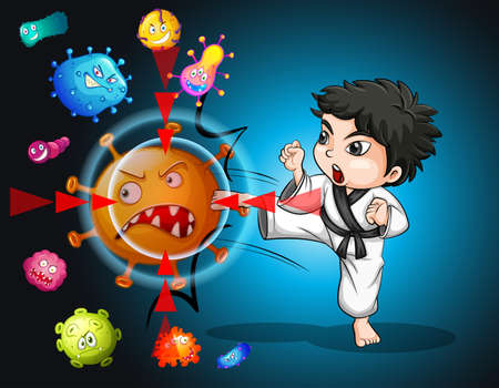 Boy in karate suit kicking bacteria illustration