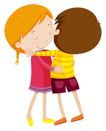 Illustration for Boy and girl hugging illustration - Royalty Free Image