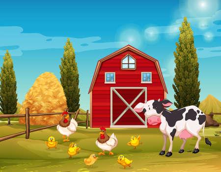 Illustration pour Farm animals living in the farm illustration - image libre de droit