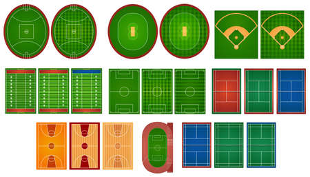 Sport courts and fields illustration