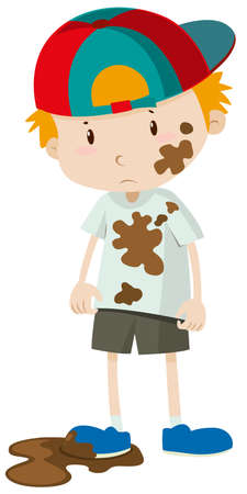 Little boy wearing dirty clothes illustration