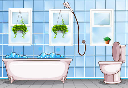Bathroom with bathtub and toilet illustration