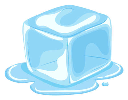 Piece of ice cube melting  illustration