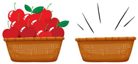 Empty basket and basket full of apples illustration