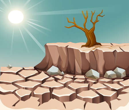 Nature scene with hot sun and dry land illustration