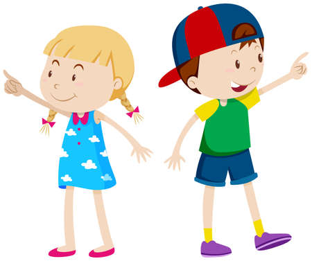 Illustration pour Girl pointing left and boy pointing right illustration - image libre de droit