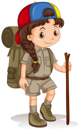 Ilustración de Girl with backpack and walking stick illustration - Imagen libre de derechos