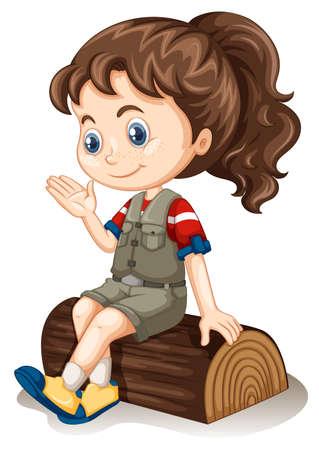 Illustration for Little girl sitting on log illustration - Royalty Free Image