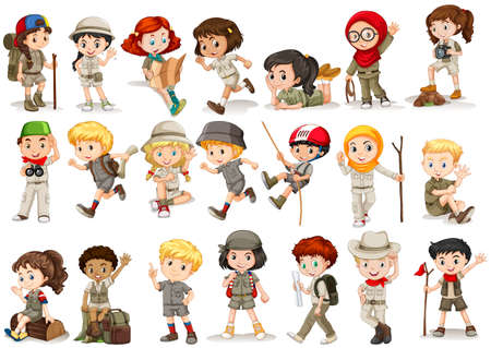 Illustration pour Girls and boys in camping costume illustration - image libre de droit