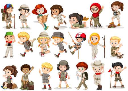 Ilustración de Girls and boys in camping costume illustration - Imagen libre de derechos