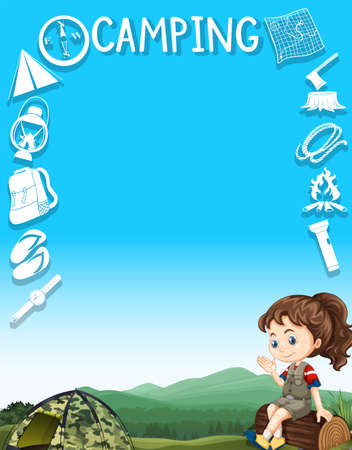 Illustration pour Border design with camping gears and girl illustration - image libre de droit