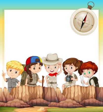 Illustration pour Border design with children camping out illustration - image libre de droit