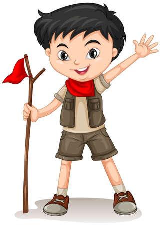 Illustration pour Little boy holding a walking stick illustration - image libre de droit