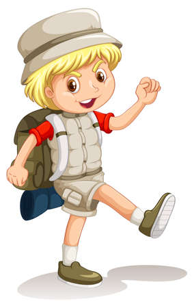 Illustration pour Little boy with backpack going camping illustration - image libre de droit