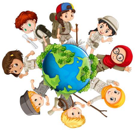 Illustration pour Children caring for the earth illustration - image libre de droit