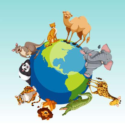 Illustration pour Wild animals around the earth illustration - image libre de droit