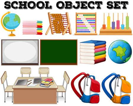 Illustration pour School objects and tools illustration - image libre de droit