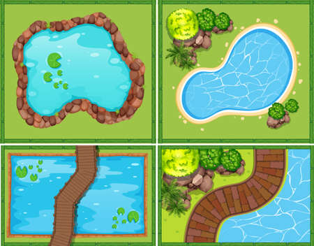 Illustration pour Four scene of pool and pond illustration - image libre de droit