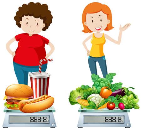 Ilustración de Woman eating healthy and unhealthy food illustration - Imagen libre de derechos