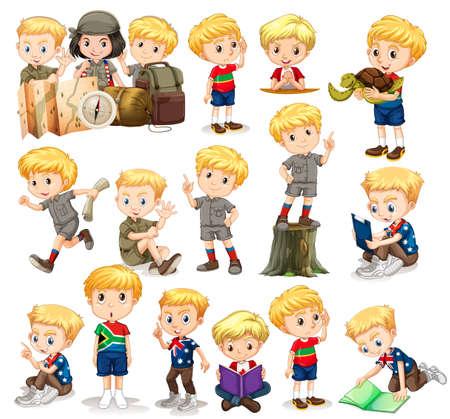 Illustration pour Blond boy doing different activities illustration - image libre de droit