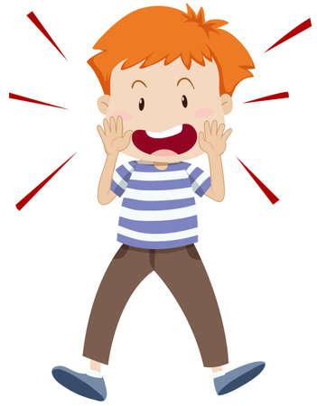 Illustration pour Little boy shouting alone illustration - image libre de droit