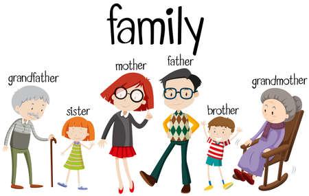 Illustration pour Family members with three generations illustration - image libre de droit