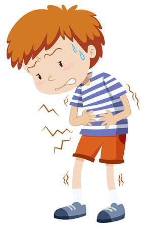 Little boy having stomachache illustration