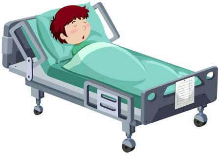 Ilustración de Boy being sick in hospital bed illustration - Imagen libre de derechos
