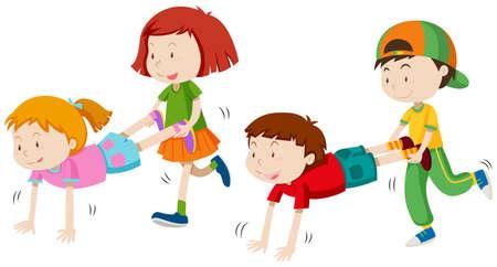 Illustration for Children playing wheel barrow illustration - Royalty Free Image