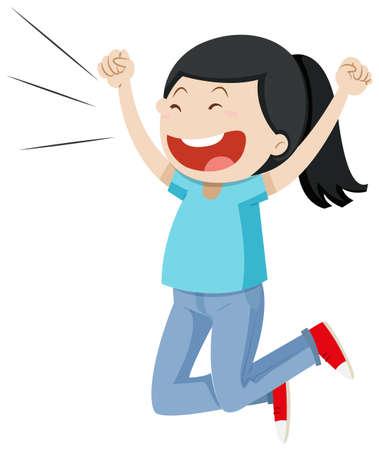 Illustration pour Girl jumping up with excitement illustration - image libre de droit