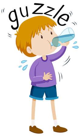 Little boy gazzle from water bottle illustration