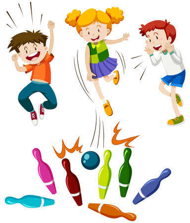 Illustration for Children playing game of bowling illustration - Royalty Free Image