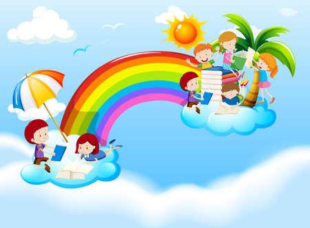 Illustration for Children reading books over the rainbow illustration - Royalty Free Image
