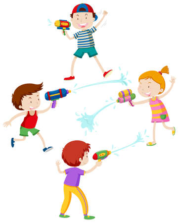 Illustration for Children playing with water gun illustration - Royalty Free Image