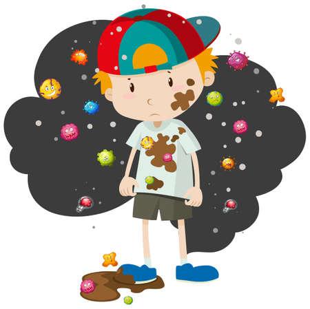 Illustration pour Dirty boy full of bacteria illustration - image libre de droit