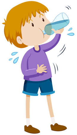 Illustration for Boy drinking water from bottle illustration - Royalty Free Image