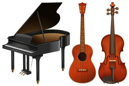 Illustration pour Musical instruments with piano and guitar illustration - image libre de droit