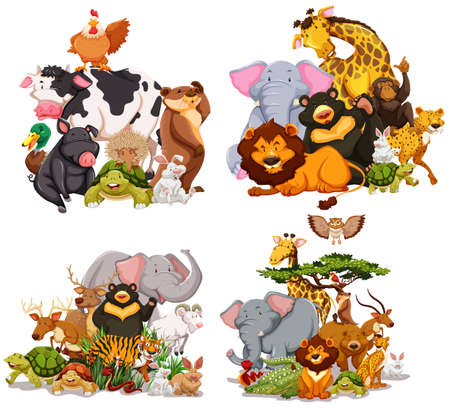 Illustration for Four groups of wild animals illustration - Royalty Free Image