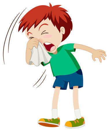 Illustration pour Little boy sneezing hard illustration - image libre de droit