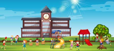 Illustration pour Children playing at the school yard illustration - image libre de droit