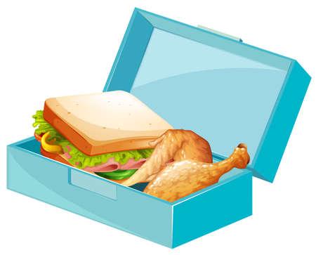 Vektor für Lunch box with sandwiches and fried chicken illustration - Lizenzfreies Bild